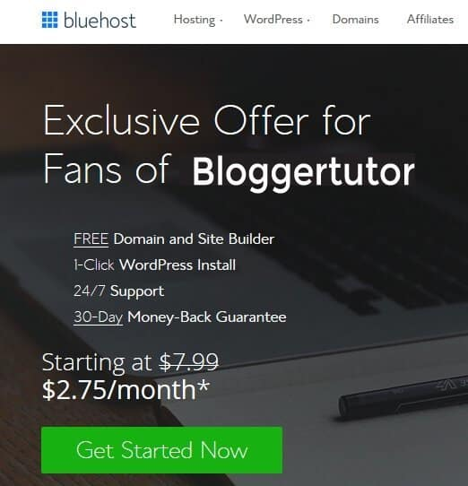 bluehost Special offer for blogger tutor
