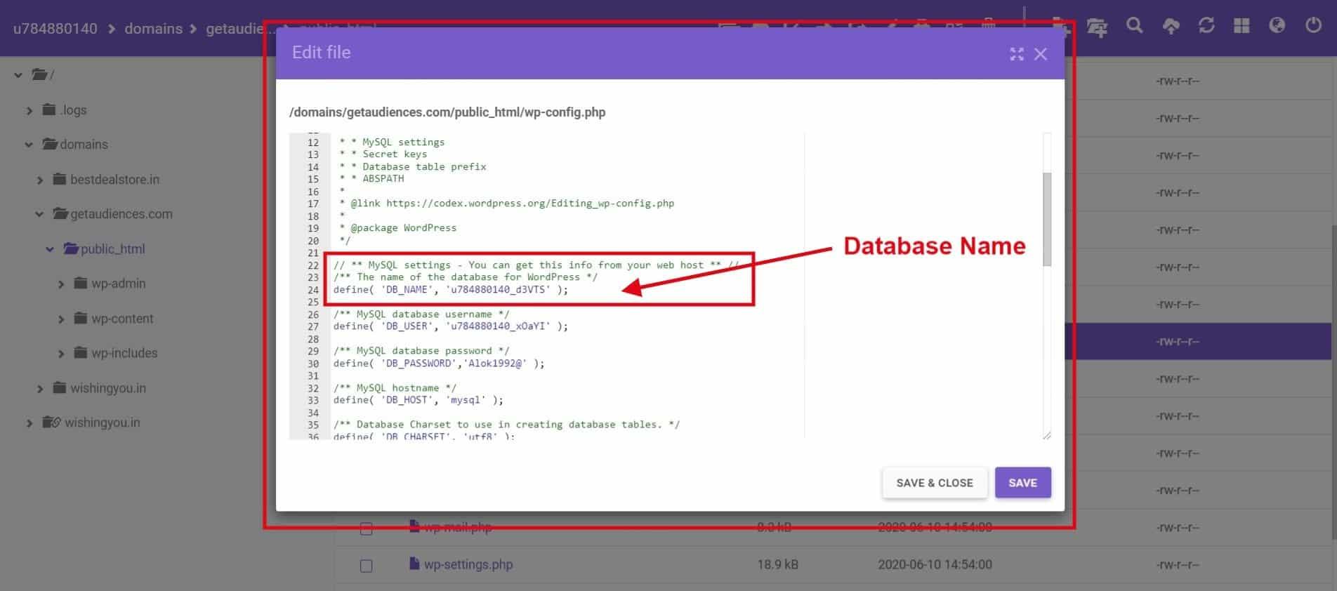 wp-config Database name