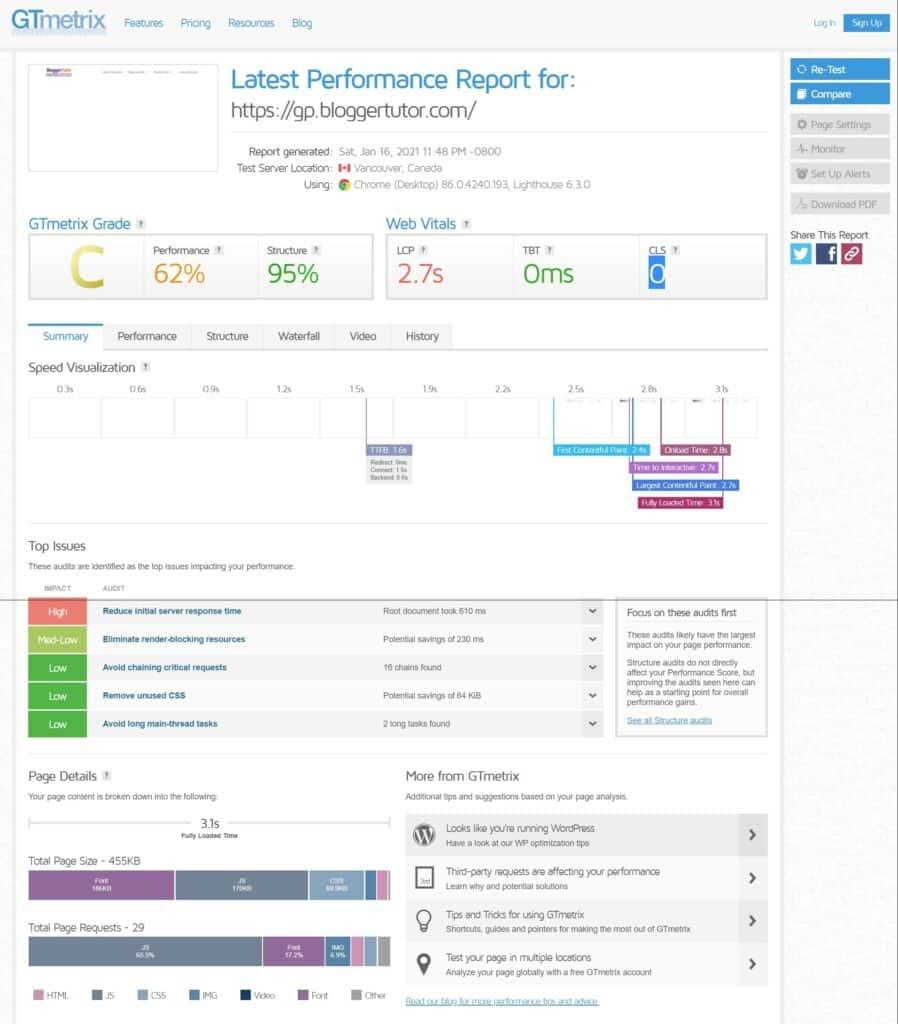 Latest Performance Report for GeneratePress Pro by GTmetrix