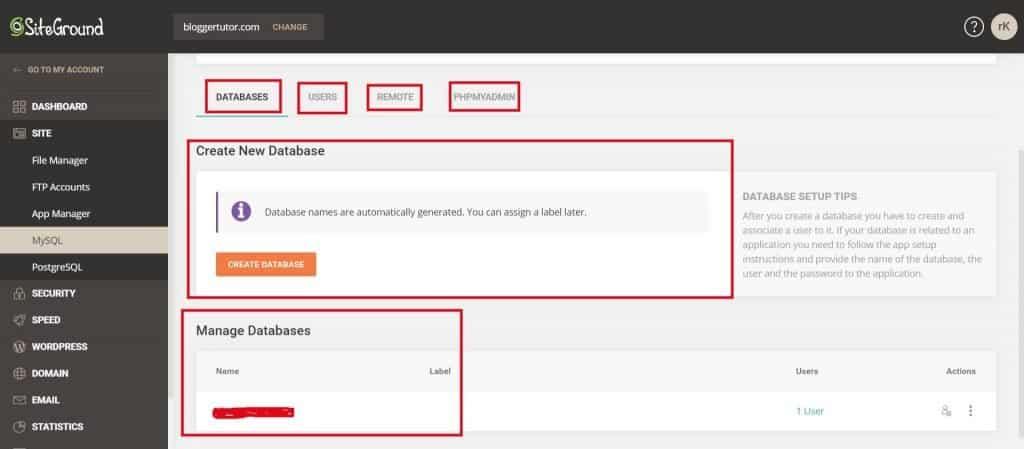 Siteground Tools - MySQL Manager