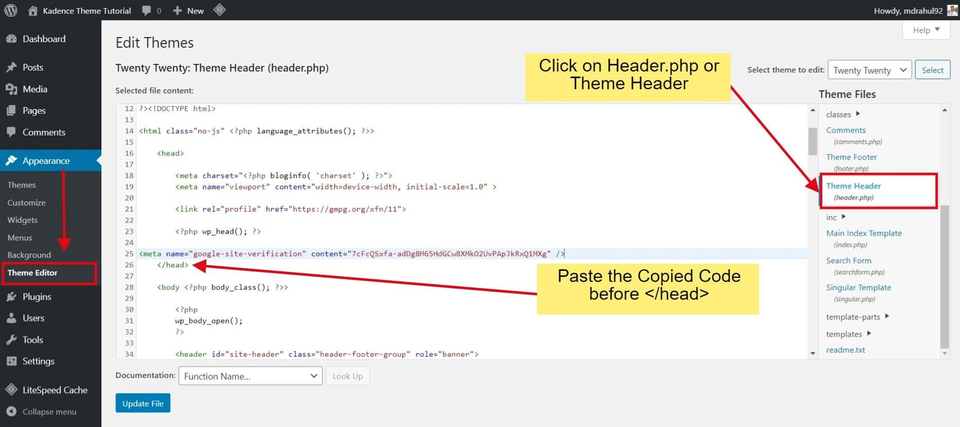 Theme Header Section