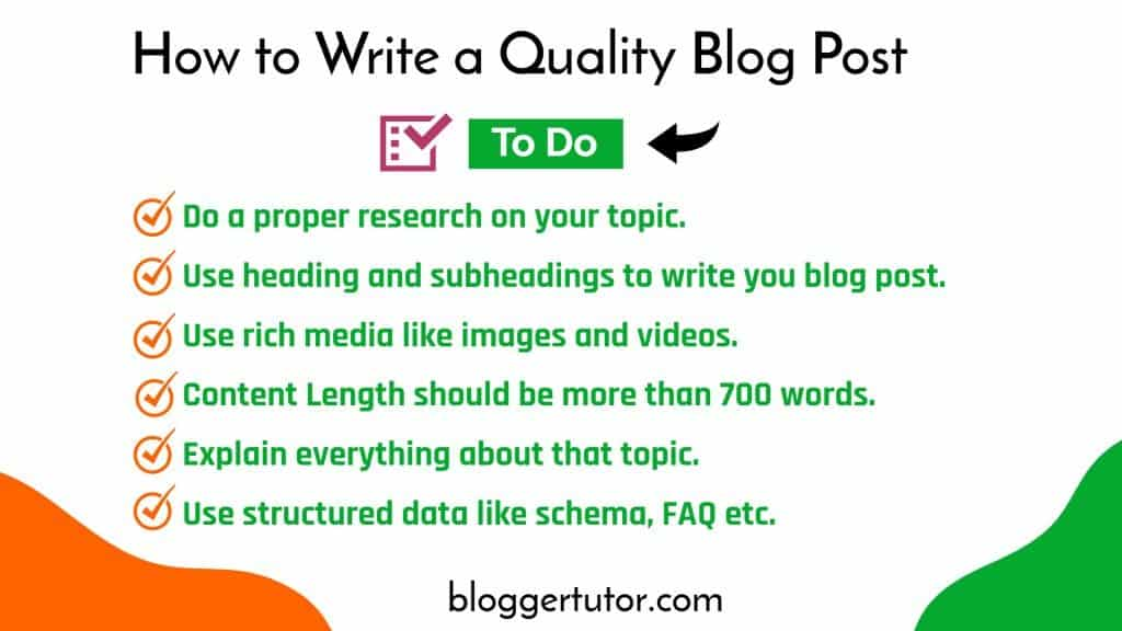 To do Checklist for writing quality BLOG posts