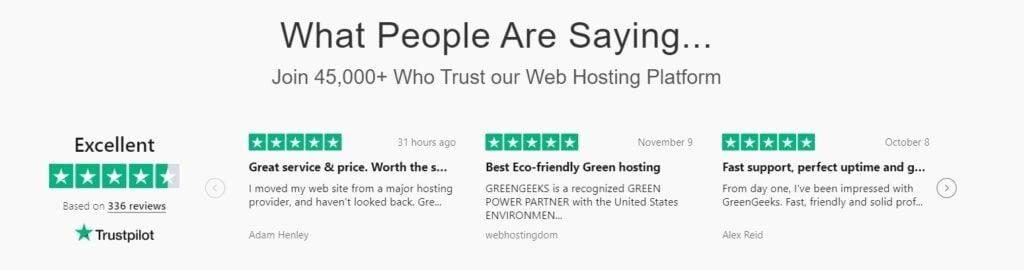 GreenGeeks Trustpiolet Review