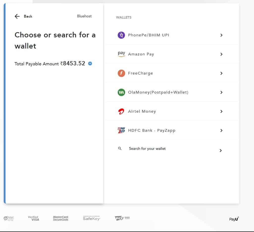 Bluehost-Supported-Indian-Payment-Wallet