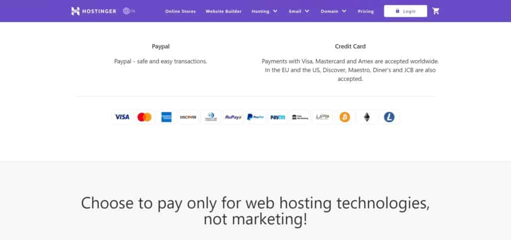 Hostinger Payment Method