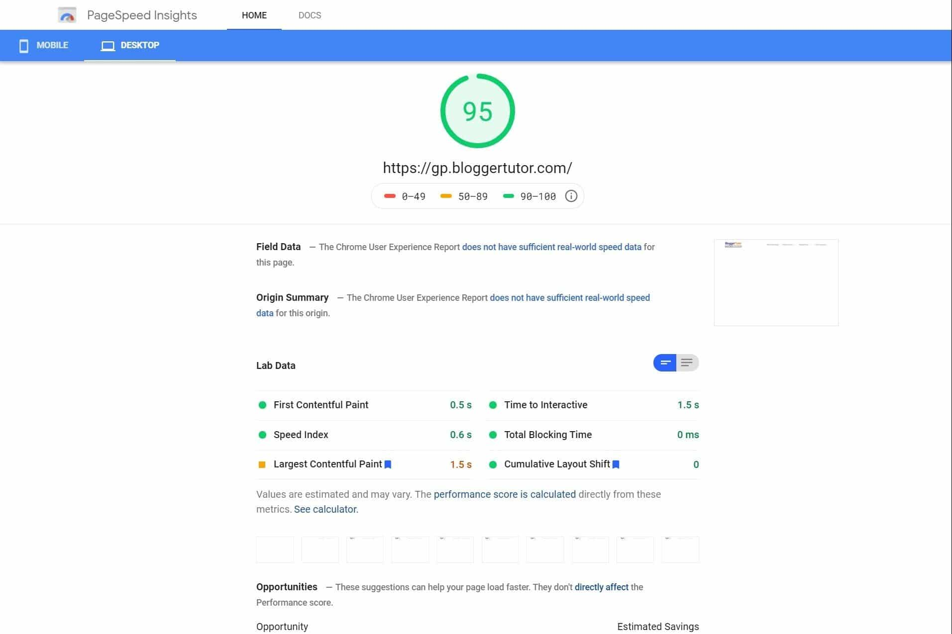 Desktop Speed test of GeneratePress Pro Theme by PageSpeed Insights