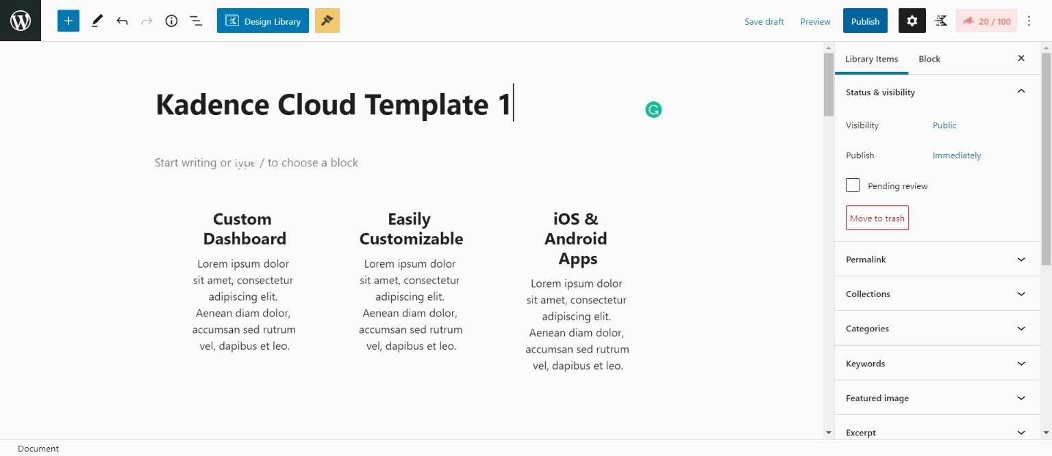 Creating Template in Kadence Cloud Library
