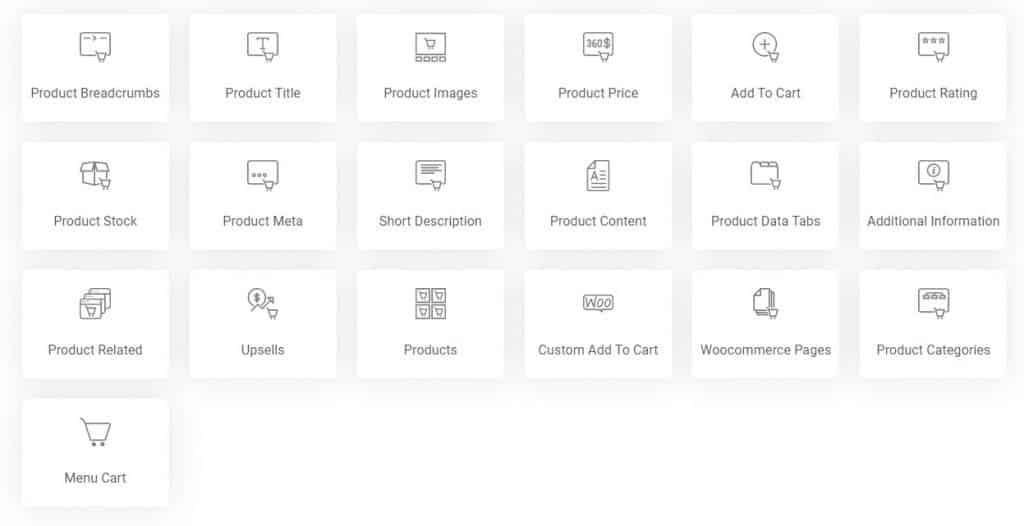 Elementor WooCommerce elements in Pro version -